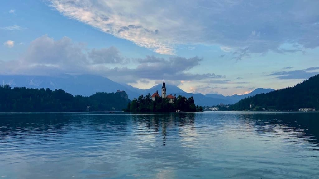 Landscape view of the church island in Bled