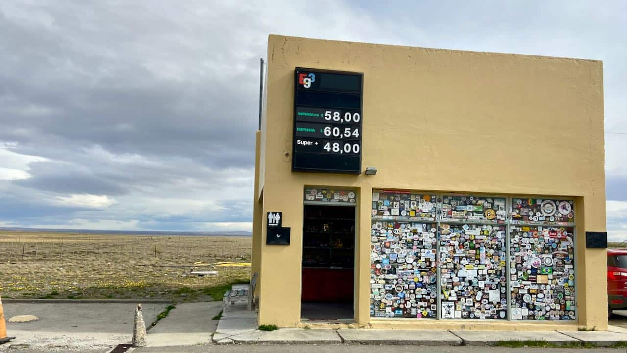 Petrol station in Patagonia in the middle of almost nowhere